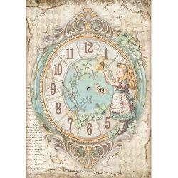Stamperia- Alice  Clock - Feuille de riz