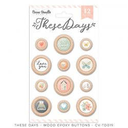 """Boutons en bois - Collection """"These Days"""" - Cocoa vanilla"""