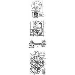Tim Holtz Mini Blueprints Strip Cling Industrial