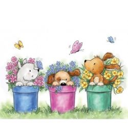 Wild Rose Studio`s A7 stamp set Dogs in Pots