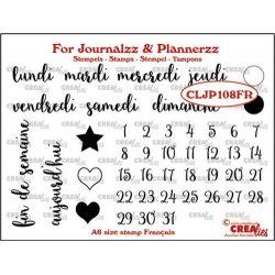 Crealies Clear Journalzz & Plannerzz Les jours de la semaine en français